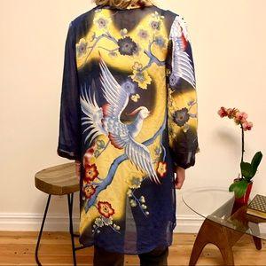 Beautiful Silk Kimono. Blue and Yellow bird design